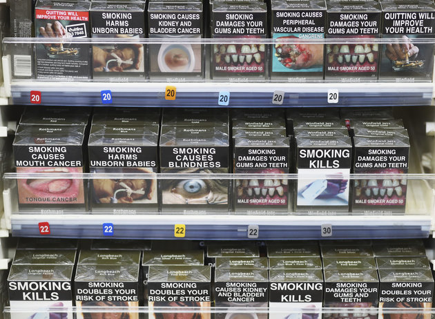 SYDNEY, AUSTRALIA - MAY 04: Cigarettes are seen on the shelf on May 04, 2016 in Sydney, New South Wales.The Australian Government yesterday announced in their budget four annual 12.5 per cent increases to tobacco excise and excise equivalent customs duties which will significantly push up the over-the counter price up to AUD$40 by 2020. (Photo by Ryan Pierse/Getty Images)